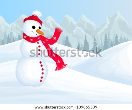 Winter background with smiling snowman
