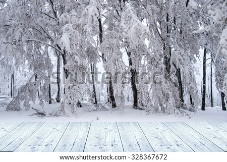 winter background with wooden planks