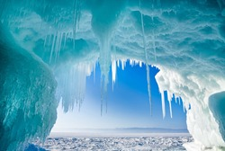 Winter Baikal. Olkhon Island. Icy grotto