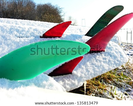 Winter beach with surfboard fins in snow.