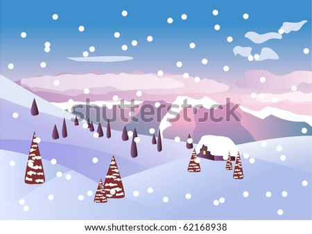Winter  beautiful landscape. Raster version. Vector version is in my gallery.