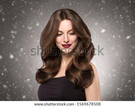 Winter beauty woman beautiful hair snowflakes