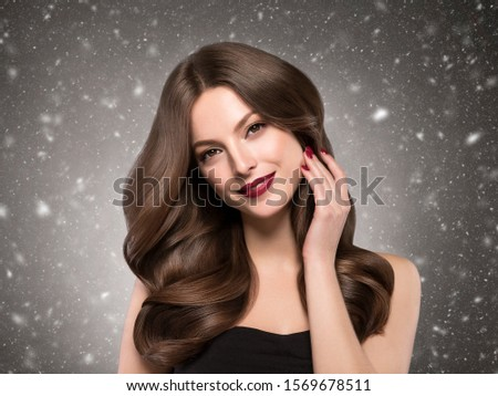 Winter beauty woman beautiful hair snowflakes