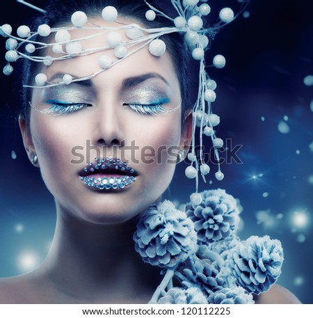 Winter Beauty Woman. Christmas Girl Makeup.Make-up