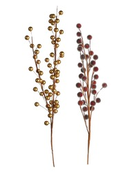 Winter Berries in Gold and Sparkly Cranberry Red.  White Background.  Home Decor. Nature Decorations.