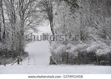 Winter: bleak rural northern French countryside following light snowfall