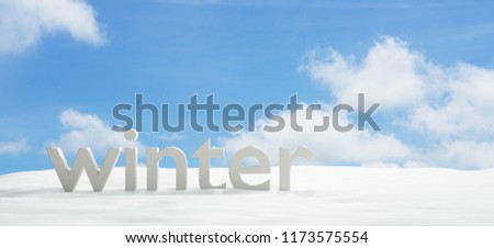 winter bold letters with snow and blue sky 3d-illustration