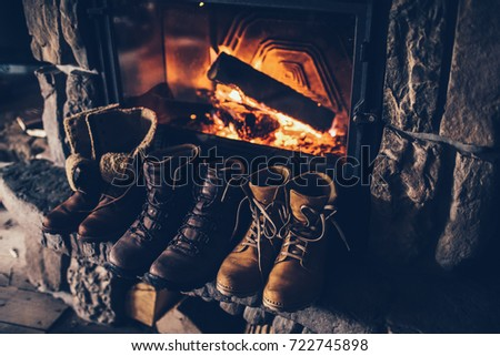winter boots in front of a...