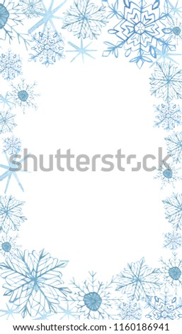 Winter border with blue snowflakes on white background . Hand-painted horizontal illustration for Happy New Year and Merry Christmas border , watercolor