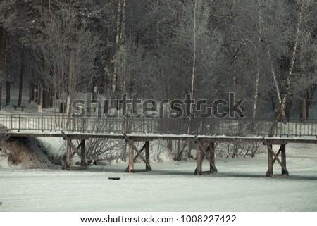 Stock Photo Winter bridge ice lake