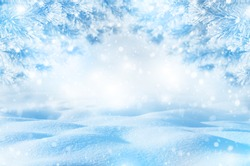 Winter bright background. Christmas landscape with snowdrifts and pine branches in the frost. Christmas background for design.