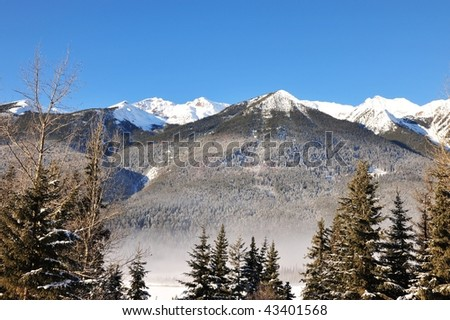 Winter canadian rockies landscape in yoho national park, british columbia, canada