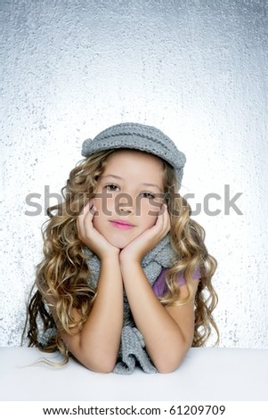 winter cap wool scarf little fashion girl portrait silver gray background - stock photo