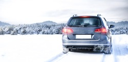 Winter car and landscape of snow