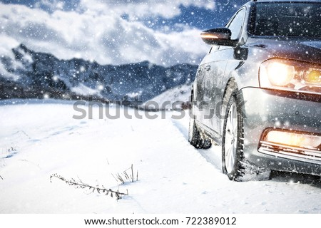 winter car and road of snow  #722389012