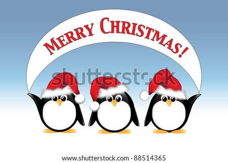 Winter cartoon penguins wearing Santa hats and holding a Merry Christmas banner. Also available in vector format.