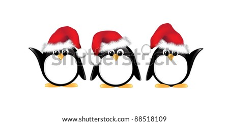 Winter cartoon penguins wearing Santa hats. Isolated on white. Also available in vector format.