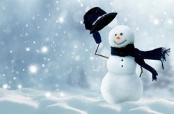 Winter Christmas background.Merry Christmas and happy New Year greeting card with snowman.