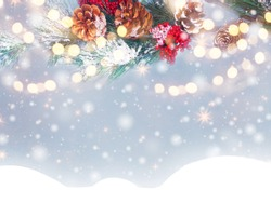 winter christmas background with snow fir branches cones frozen berries