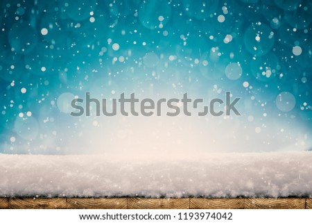 winter Christmas background with snow on the tree #1193974042