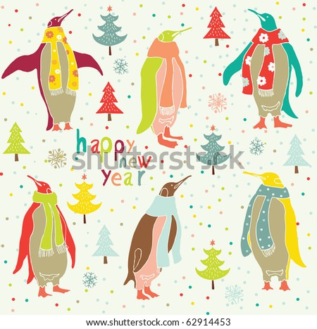 Winter Christmas card with penguins