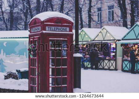 Traditional Red Phone booth,vintage filtered  Images and