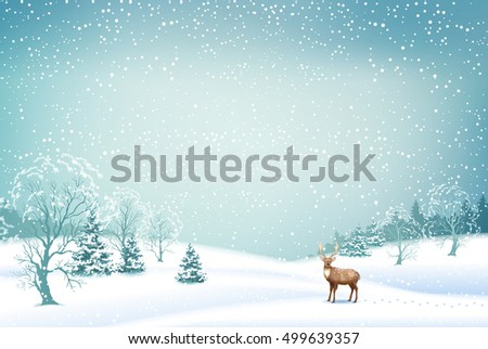 Winter Christmas Landscape Background with snow covered hills, deer