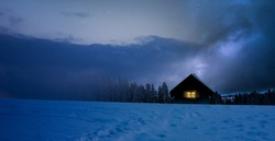 Winter Christmas Landscape with snowy fir trees and cozy hut