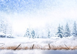 Winter christmas scenic landscape with copy space. Wooden flooring strewn with snow in forest  with fir-trees covered with snow on nature
