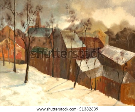 winter city landscape, painting on canvas