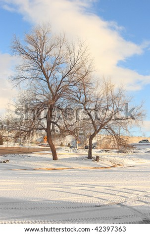Winter city landscape with snow