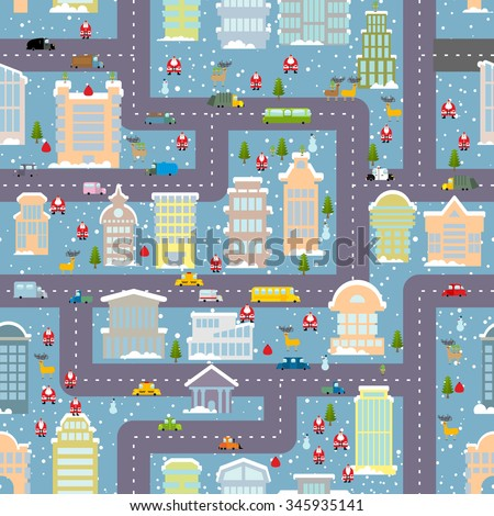 Royalty-free Winter city seamless pattern. Christmas ...