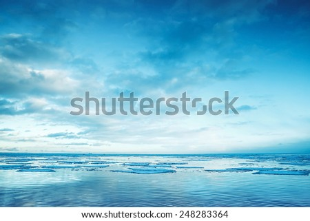 Winter coastal landscape with floating ice fragments on still sea water Gulf of Finland Russia Blue toned photo filter effect