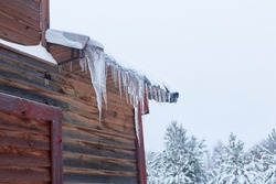 Winter composition. Icicles and snow on the roof. Colorful wall of a wooden house against the background of snow-covered pines and dark gray sky. Horizontal composition
