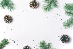 Winter Concept, Pine Cones, Braches and Silver Confetti on White Background, Flat Lay, Top View