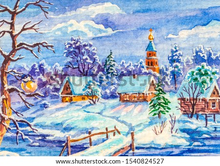 Winter country landscape with log houses. Bridge over the river