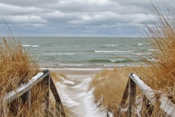 Winter Day at the Beach. Port Crescent State Park. Port Austin, Michigan.