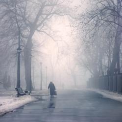 Winter day, passersby walk in Mariinsky Park in Kiev, capital of Ukraine. An elderly woman walks wearily on a sad city park