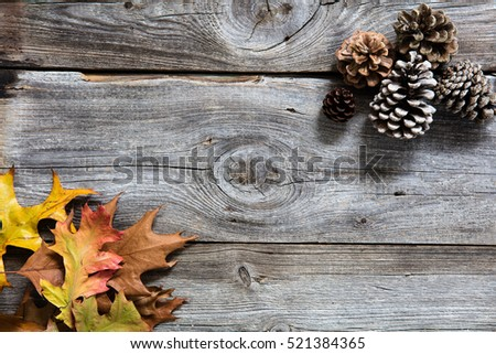 winter decor with colored dead leaves, fir cones on old wood background for symbols of sustainable concept for copy space, flat lay #521384365
