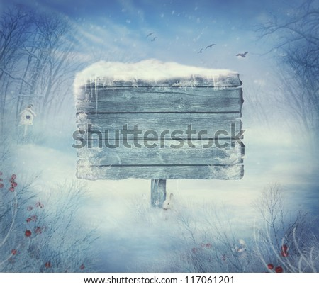 Winter design background - Christmas valley with sign for copyspace. Wooden sign in snow valley with woods,  tree, rabbit, holly and bird. Space for your winter text. Winter background
