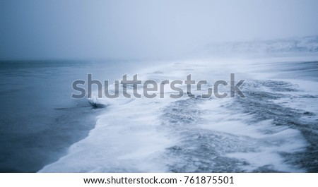 Winter disaster in the sea. Winter disaster #761875501
