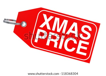 Winter discount concept. Christmas price tag on a white background