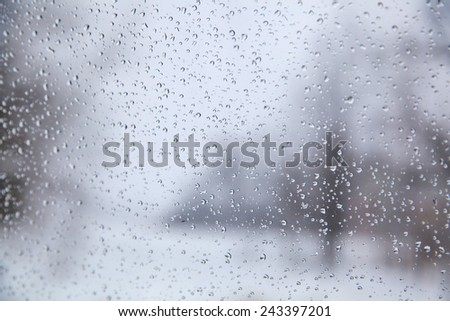 Winter drops background with covered trees and road #243397201