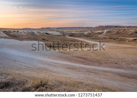 Winter dusk over badlands in Pawnee National Grassland in northern Colorado (Main Draw OHV Area)