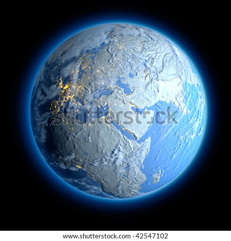 Winter Earth. All the continents are covered with snow and signs of life can only see the lights of cities