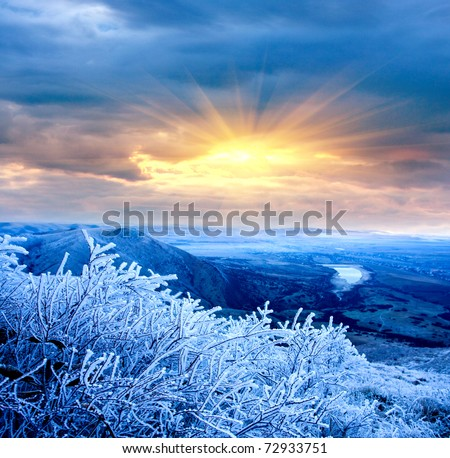 Winter evening scene in mountains
