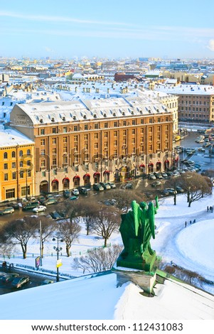 Winter evening view of St.-Petersburg, Russia, from the colonnade of the Saint Isaac's  Cathedral