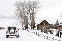 Winter farm in Steamboat Springs, Colorado.