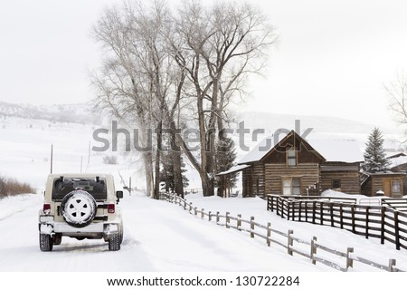 Winter farm in Steamboat Springs, Colorado.