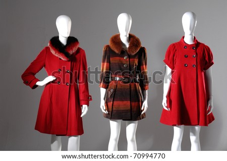 Winter fashion coat dress on mannequin